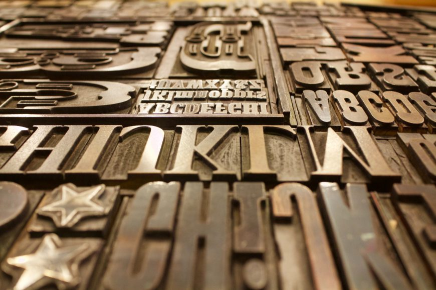 old fashioned metal letters for printing